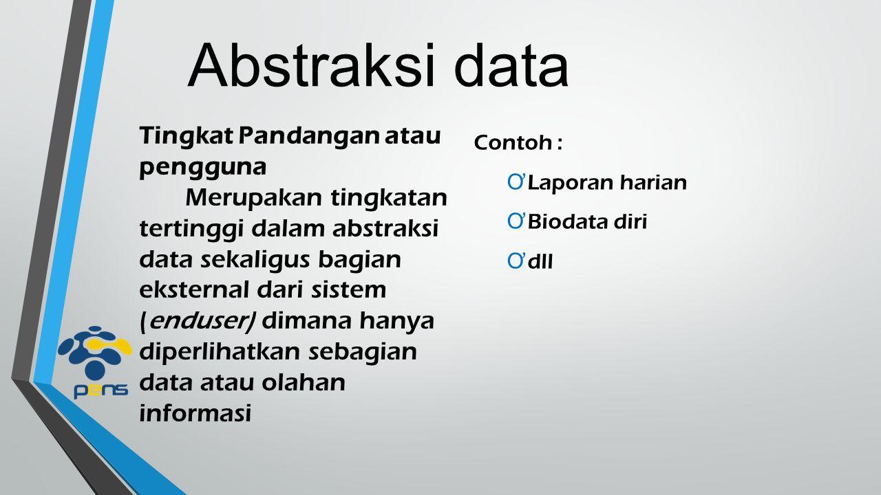 Abstraksi data Tingkat Pandangan atau pengguna Merupakan tingkatan tertinggi dalam abstraksi data sekaligus bagian eksternal dari sistem (enduser) dim