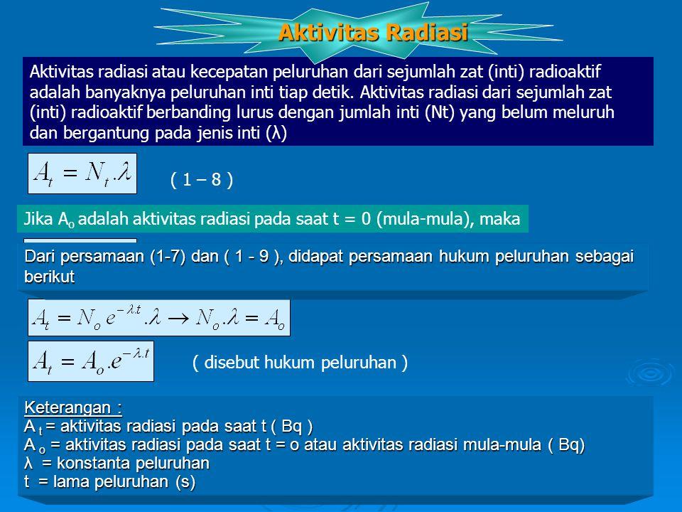 Dari persamaan (1-7) dan ( 1 - 9 ), didapat persamaan hukum peluruhan sebagai berikut Keterangan : A t = aktivitas radiasi pada saat t ( Bq ) A o = aktivitas radiasi pada saat t = o atau aktivitas radiasi mula-mula ( Bq) λ = konstanta peluruhan t = lama peluruhan (s) ( disebut hukum peluruhan ) Satuan aktivitas radiasi Sejak tahun 1976 dalam sitim Satuan Intenasional (SI ) aktivitas radiasi dinyatakan dalam satuan Bequerel ( Bq ), yang didefinisikan sebagai 1 Bq = 1 peluruhan/sekon Sebelum itu, satuan aktivitas radiasi adalah Curie (Ci ).