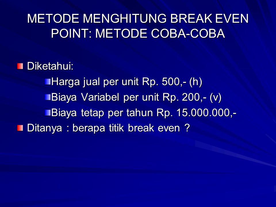 METODE MENGHITUNG BREAK EVEN POINT: METODE COBA-COBA Diketahui: Harga jual per unit Rp. 500,- (h) Biaya Variabel per unit Rp. 200,- (v) Biaya tetap pe