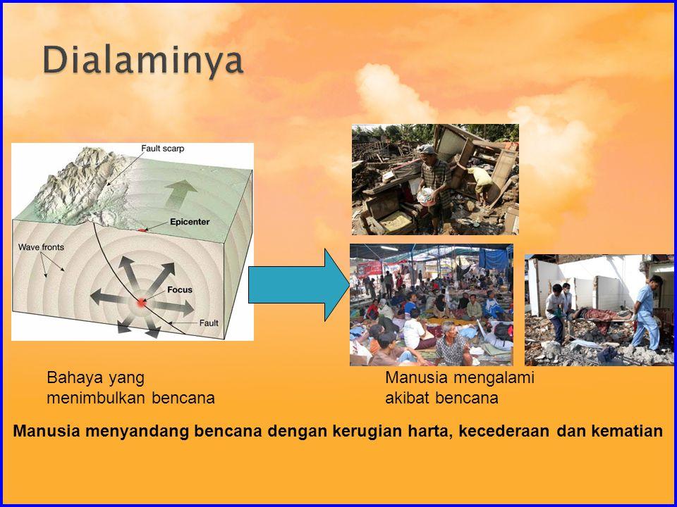 Manusia mengalami akibat bencana Bahaya yang menimbulkan bencana Manusia menyandang bencana dengan kerugian harta, kecederaan dan kematian
