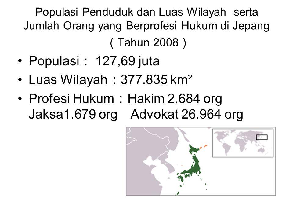 Populasi Penduduk dan Luas Wilayah serta Jumlah Orang yang Berprofesi Hukum di Jepang ( Tahun 2008 ) •Populasi : 127,69 juta •Luas Wilayah : 377.835 k