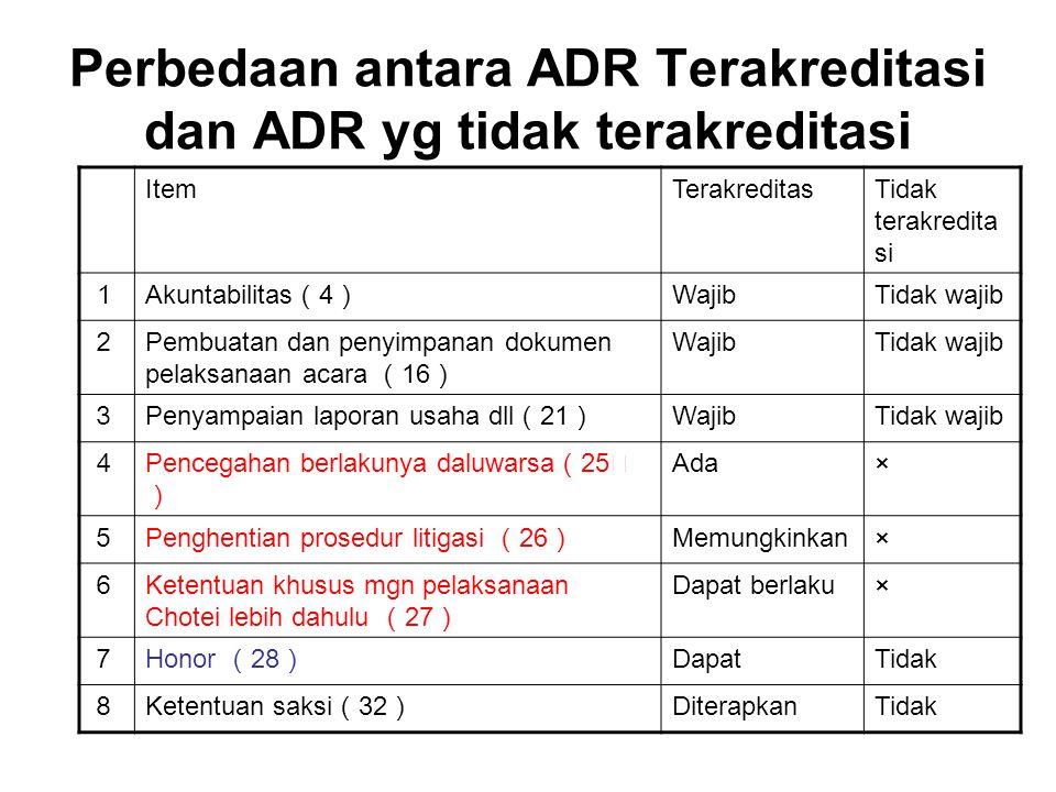 Perbedaan antara ADR Terakreditasi dan ADR yg tidak terakreditasi ItemTerakreditasTidak terakredita si 1 Akuntabilitas ( 4 ) WajibTidak wajib 2 Pembua