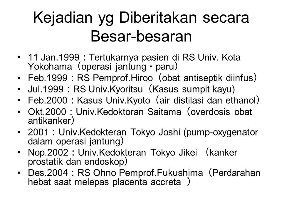Kejadian yg Diberitakan secara Besar-besaran •11 Jan.1999 : Tertukarnya pasien di RS Univ. Kota Yokohama ( operasi jantung ・ paru ) •Feb.1999 : RS Pem