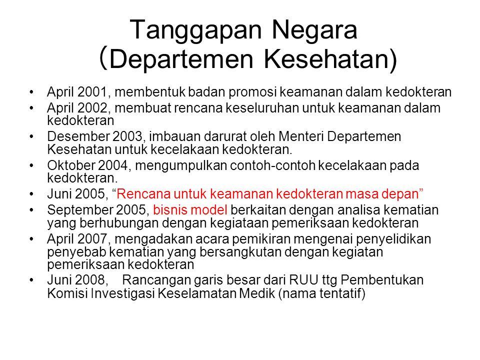 Tanggapan Negara ( Departemen Kesehatan) •April 2001, membentuk badan promosi keamanan dalam kedokteran •April 2002, membuat rencana keseluruhan untuk