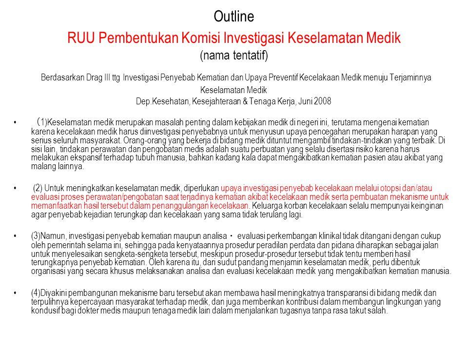 Outline RUU Pembentukan Komisi Investigasi Keselamatan Medik (nama tentatif) Berdasarkan Drag III ttg Investigasi Penyebab Kematian dan Upaya Preventi