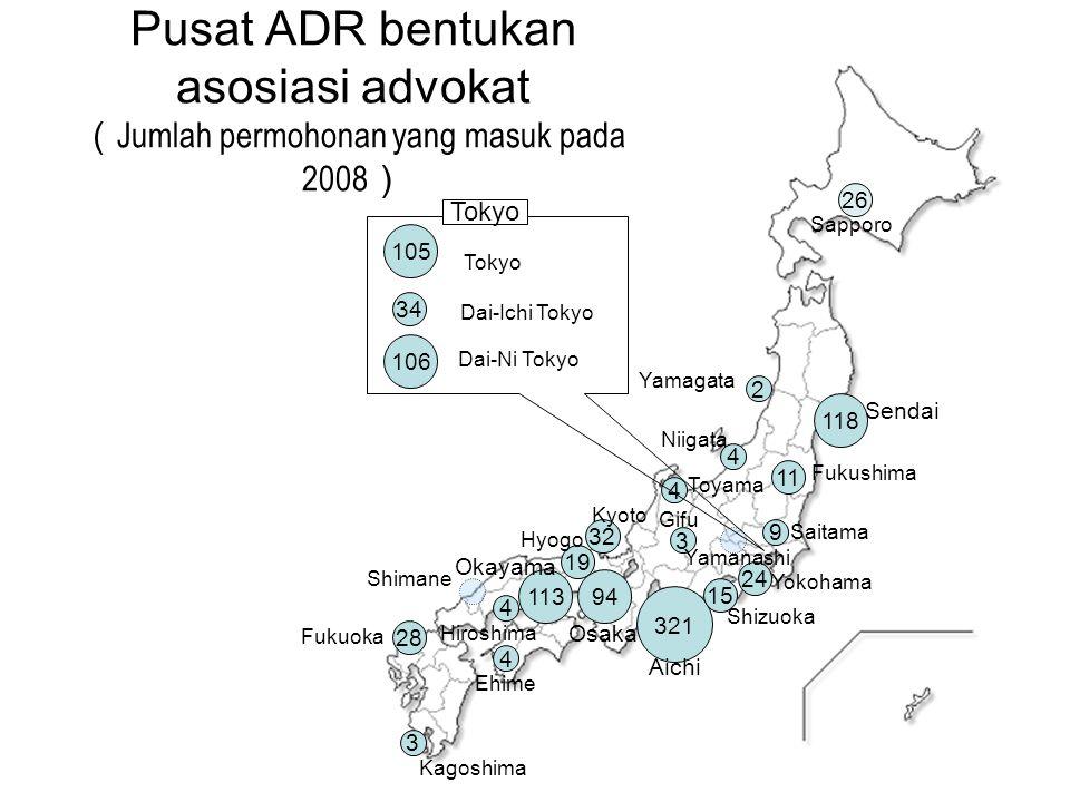 Pusat ADR bentukan asosiasi advokat ( Jumlah permohonan yang masuk pada 2008 ) 106 94 4 Dai-Ni Tokyo Osaka Niigata 105 113 Tokyo Hiroshima 4 24 9 Yoko