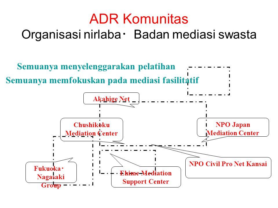 ADR Komunitas Organisasi nirlaba ・ Badan mediasi swasta Akahige Net Chushikoku Mediation Center Ehime Mediation Support Center NPO Civil Pro Net Kansa