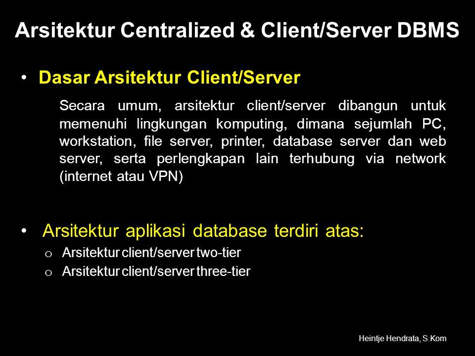Arsitektur Centralized & Client/Server DBMS •Dasar Arsitektur Client/Server Secara umum, arsitektur client/server dibangun untuk memenuhi lingkungan k