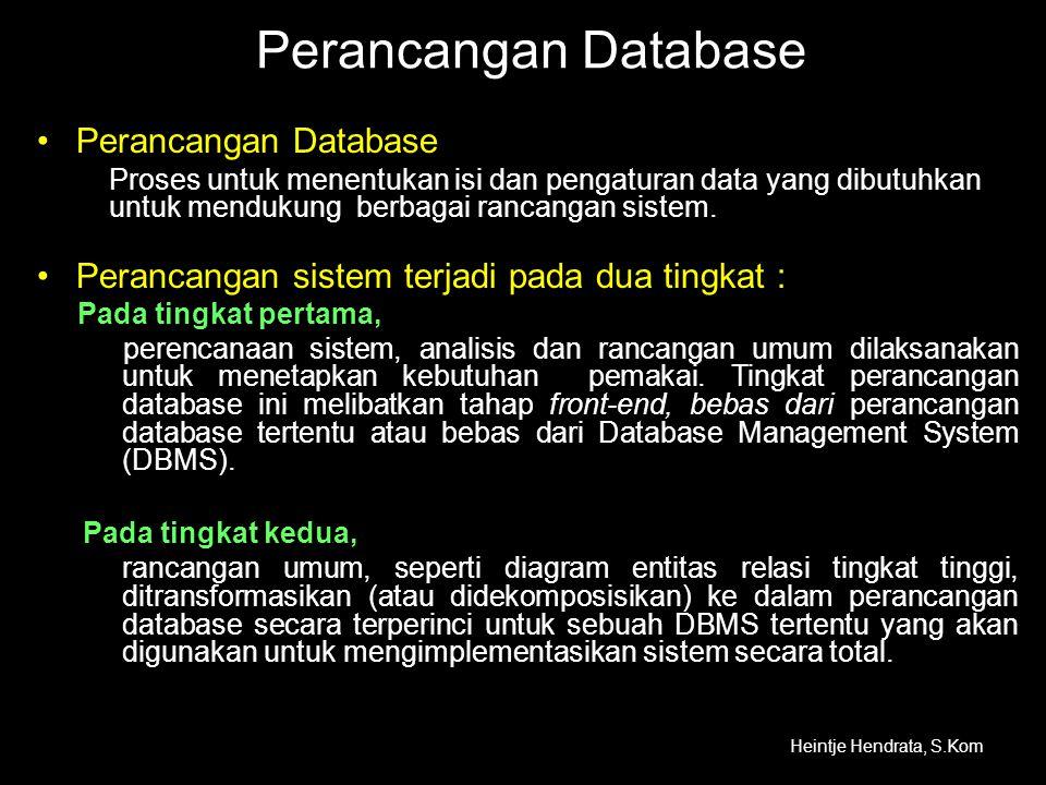 Perancangan Database •Perancangan Database Proses untuk menentukan isi dan pengaturan data yang dibutuhkan untuk mendukung berbagai rancangan sistem.