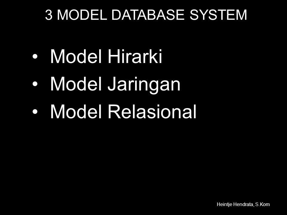 Model Data •Model data konsepsual dapat berupa –Entitas –Atribut –Relasional.