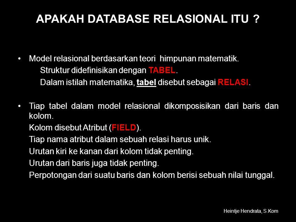 APAKAH DATABASE RELASIONAL ITU ? •Model relasional berdasarkan teori himpunan matematik. TABEL Struktur didefinisikan dengan TABEL. RELASI Dalam istil
