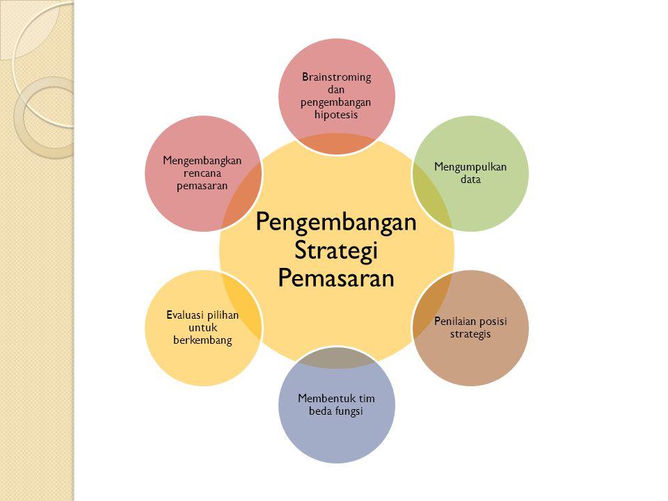 Pengembangan Strategi Pemasaran Brainstroming dan pengembangan hipotesis Mengumpulkan data Penilaian posisi strategis Membentuk tim beda fungsi Evaluasi pilihan untuk berkembang Mengembangkan rencana pemasaran
