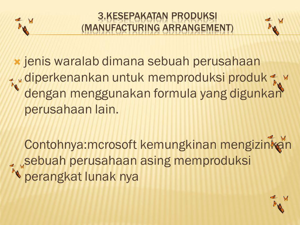 jjenis waralab dimana sebuah perusahaan diperkenankan untuk memproduksi produk dengan menggunakan formula yang digunkan perusahaan lain. Contohnya:m