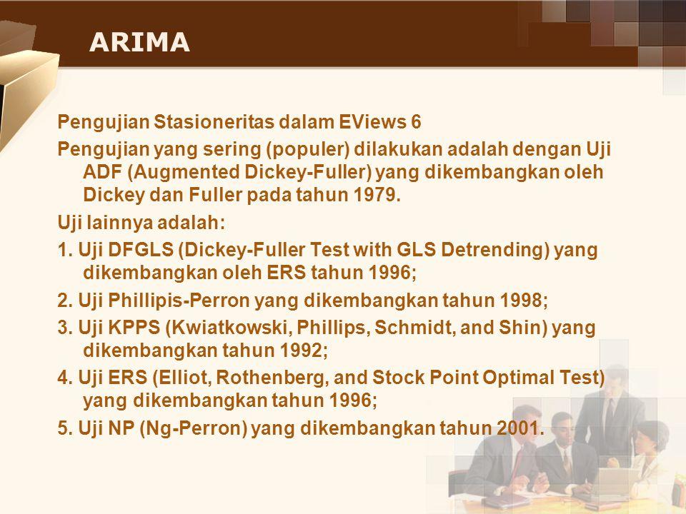 ARIMA Pengujian Stasioneritas dalam EViews 6 Pengujian yang sering (populer) dilakukan adalah dengan Uji ADF (Augmented Dickey-Fuller) yang dikembangk
