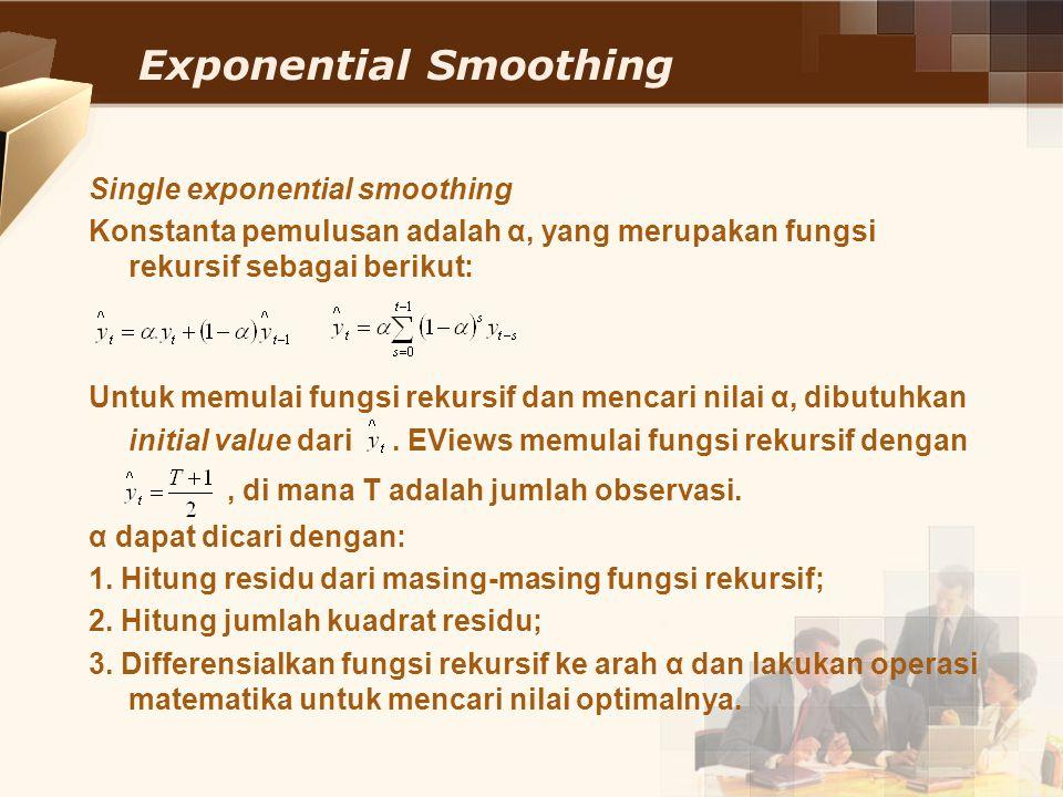 Exponential Smoothing Single exponential smoothing Konstanta pemulusan adalah α, yang merupakan fungsi rekursif sebagai berikut: Untuk memulai fungsi