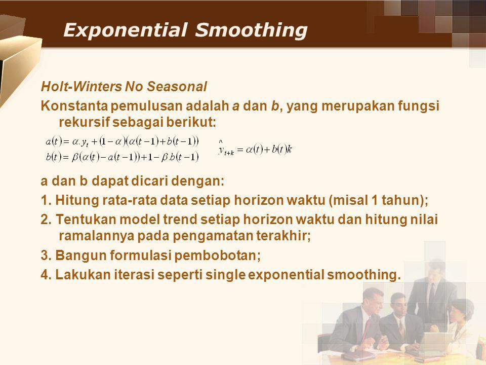 Exponential Smoothing Holt-Winters No Seasonal Konstanta pemulusan adalah a dan b, yang merupakan fungsi rekursif sebagai berikut: a dan b dapat dicar