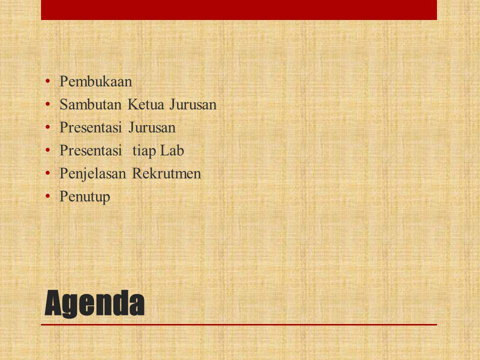 Agenda • Pembukaan • Sambutan Ketua Jurusan • Presentasi Jurusan • Presentasi tiap Lab • Penjelasan Rekrutmen • Penutup