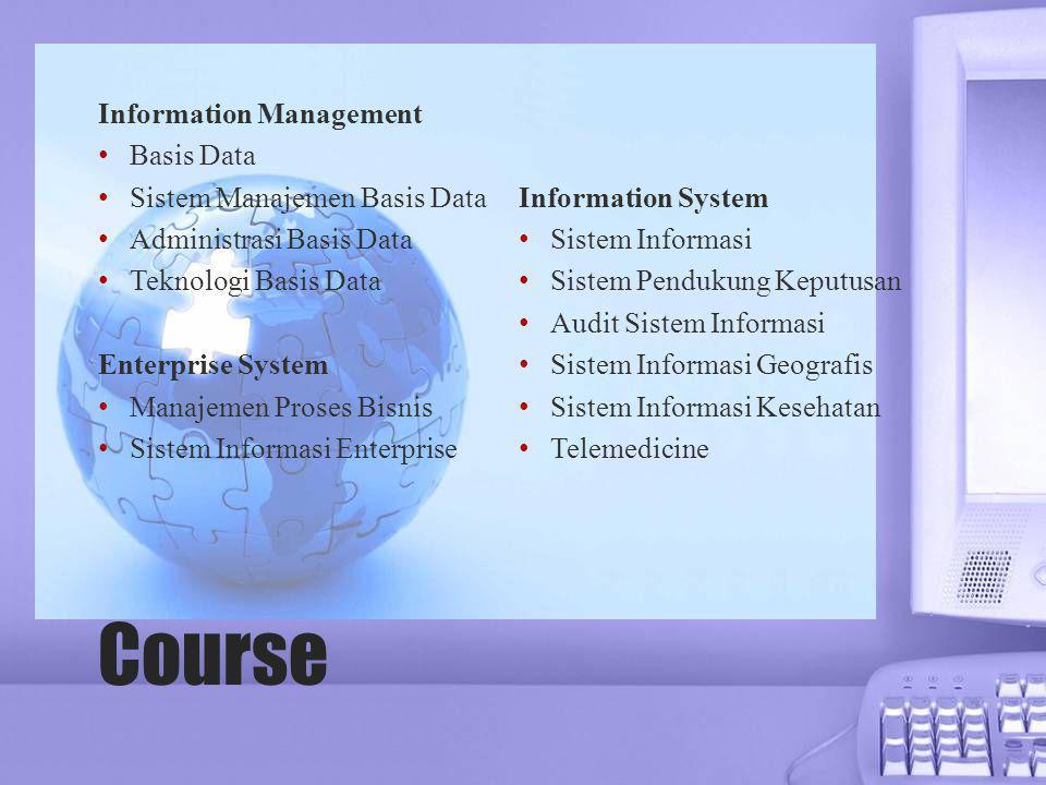 Course Information Management • Basis Data • Sistem Manajemen Basis Data • Administrasi Basis Data • Teknologi Basis Data Enterprise System • Manajeme