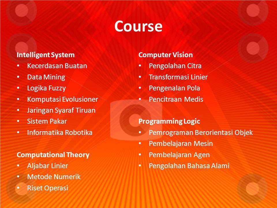 Course Intelligent System • Kecerdasan Buatan • Data Mining • Logika Fuzzy • Komputasi Evolusioner • Jaringan Syaraf Tiruan • Sistem Pakar • Informati
