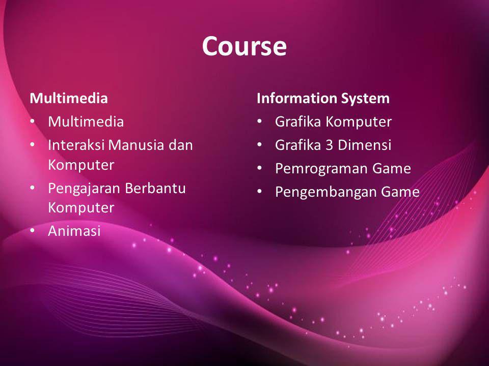 Course Multimedia • Multimedia • Interaksi Manusia dan Komputer • Pengajaran Berbantu Komputer • Animasi Information System • Grafika Komputer • Grafi