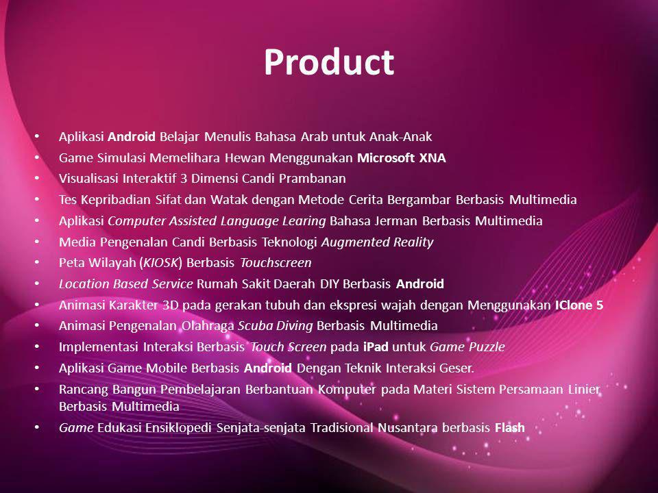 Product • Aplikasi Android Belajar Menulis Bahasa Arab untuk Anak-Anak • Game Simulasi Memelihara Hewan Menggunakan Microsoft XNA • Visualisasi Intera