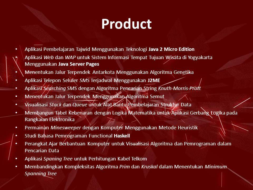 Product • Aplikasi Pembelajaran Tajwid Menggunakan Teknologi Java 2 Micro Edition • Aplikasi Web dan WAP untuk Sistem Informasi Tempat Tujuan Wisata d