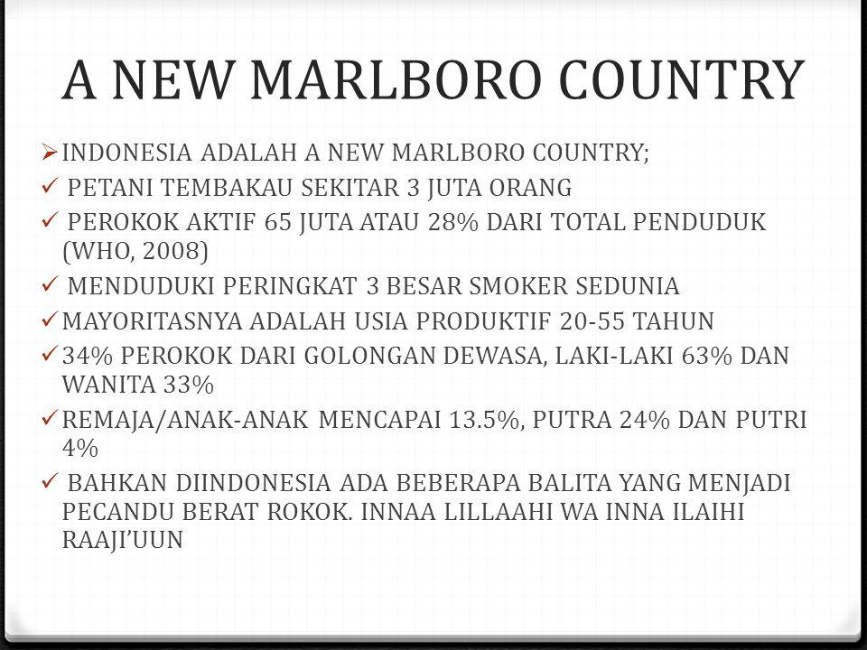 A NEW MARLBORO COUNTRY  INDONESIA ADALAH A NEW MARLBORO COUNTRY;  PETANI TEMBAKAU SEKITAR 3 JUTA ORANG  PEROKOK AKTIF 65 JUTA ATAU 28% DARI TOTAL PENDUDUK (WHO, 2008)  MENDUDUKI PERINGKAT 3 BESAR SMOKER SEDUNIA  MAYORITASNYA ADALAH USIA PRODUKTIF 20-55 TAHUN  34% PEROKOK DARI GOLONGAN DEWASA, LAKI-LAKI 63% DAN WANITA 33%  REMAJA/ANAK-ANAK MENCAPAI 13.5%, PUTRA 24% DAN PUTRI 4%  BAHKAN DIINDONESIA ADA BEBERAPA BALITA YANG MENJADI PECANDU BERAT ROKOK.