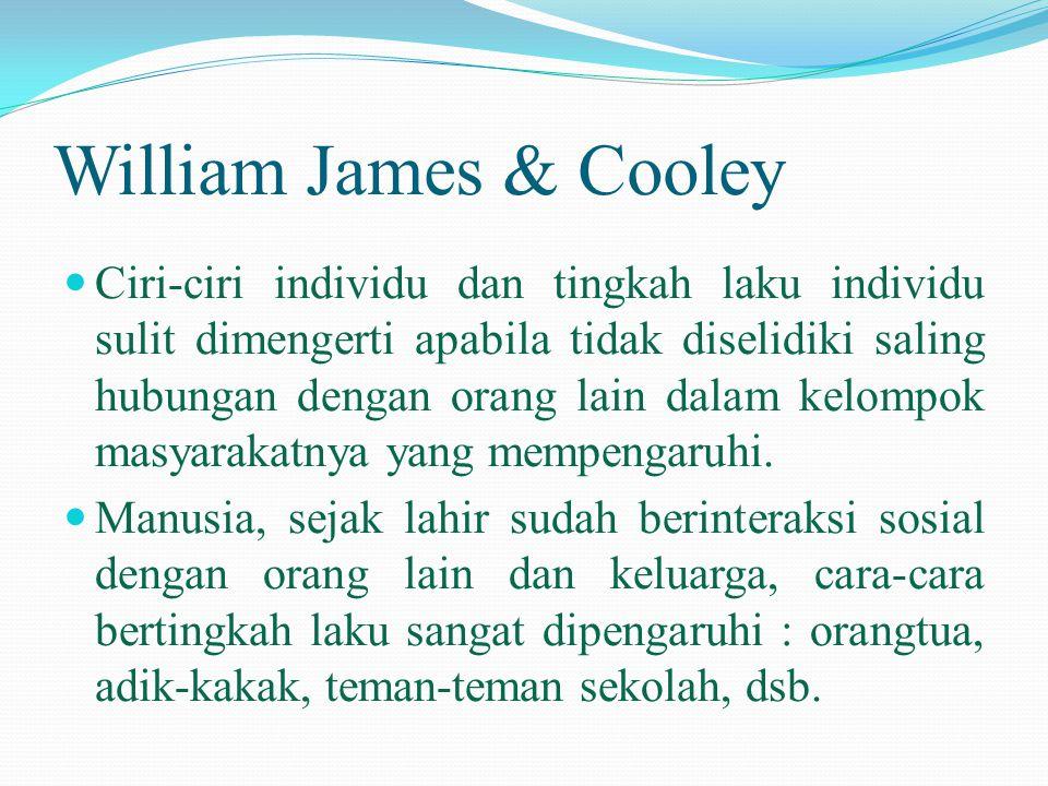 William James & Cooley  Ciri-ciri individu dan tingkah laku individu sulit dimengerti apabila tidak diselidiki saling hubungan dengan orang lain dala