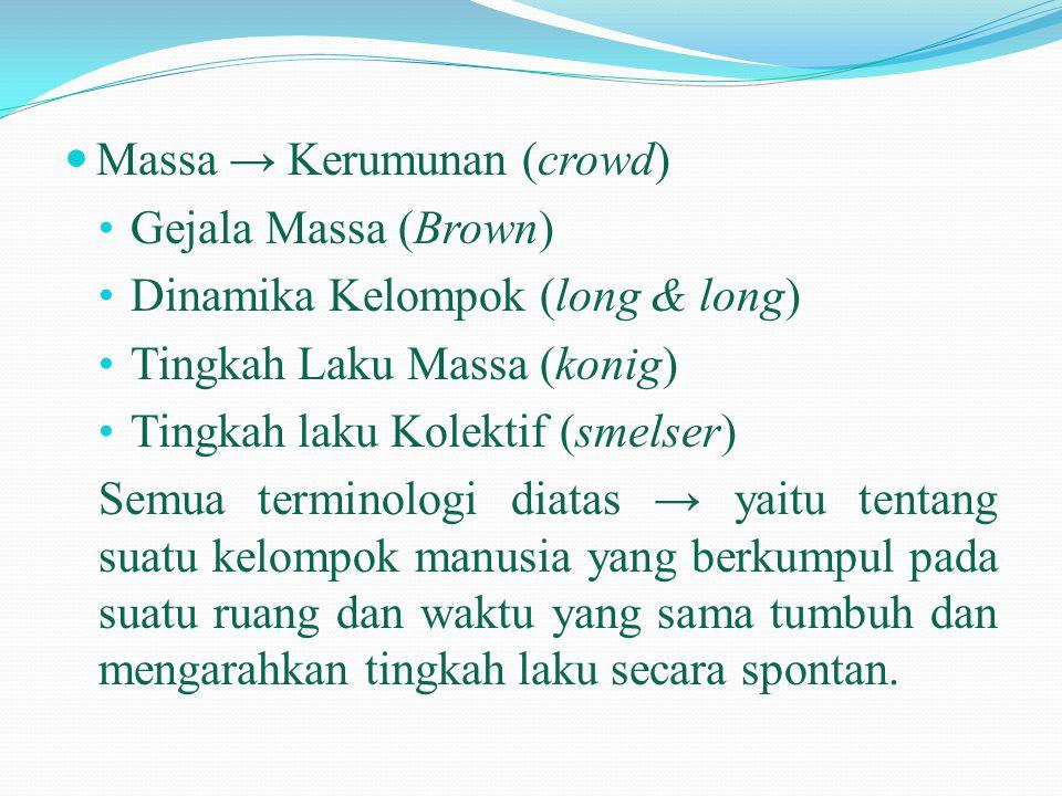  Massa → Kerumunan (crowd) • Gejala Massa (Brown) • Dinamika Kelompok (long & long) • Tingkah Laku Massa (konig) • Tingkah laku Kolektif (smelser) Se