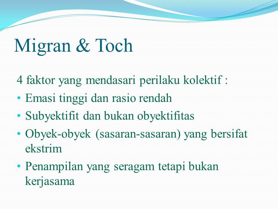 Migran & Toch 4 faktor yang mendasari perilaku kolektif : • Emasi tinggi dan rasio rendah • Subyektifit dan bukan obyektifitas • Obyek-obyek (sasaran-