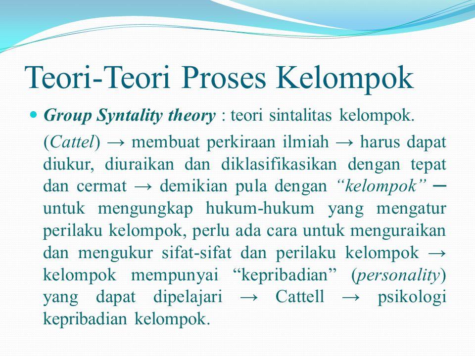 Teori-Teori Proses Kelompok  Group Syntality theory : teori sintalitas kelompok. (Cattel) → membuat perkiraan ilmiah → harus dapat diukur, diuraikan