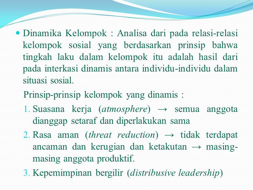  Dinamika Kelompok : Analisa dari pada relasi-relasi kelompok sosial yang berdasarkan prinsip bahwa tingkah laku dalam kelompok itu adalah hasil dari