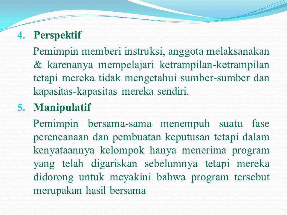 4. Perspektif Pemimpin memberi instruksi, anggota melaksanakan & karenanya mempelajari ketrampilan-ketrampilan tetapi mereka tidak mengetahui sumber-s