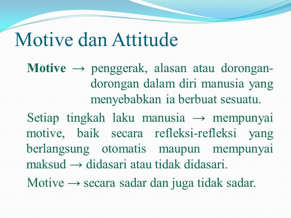 Motive dan Attitude Motive → penggerak, alasan atau dorongan- dorongan dalam diri manusia yang menyebabkan ia berbuat sesuatu. Setiap tingkah laku man