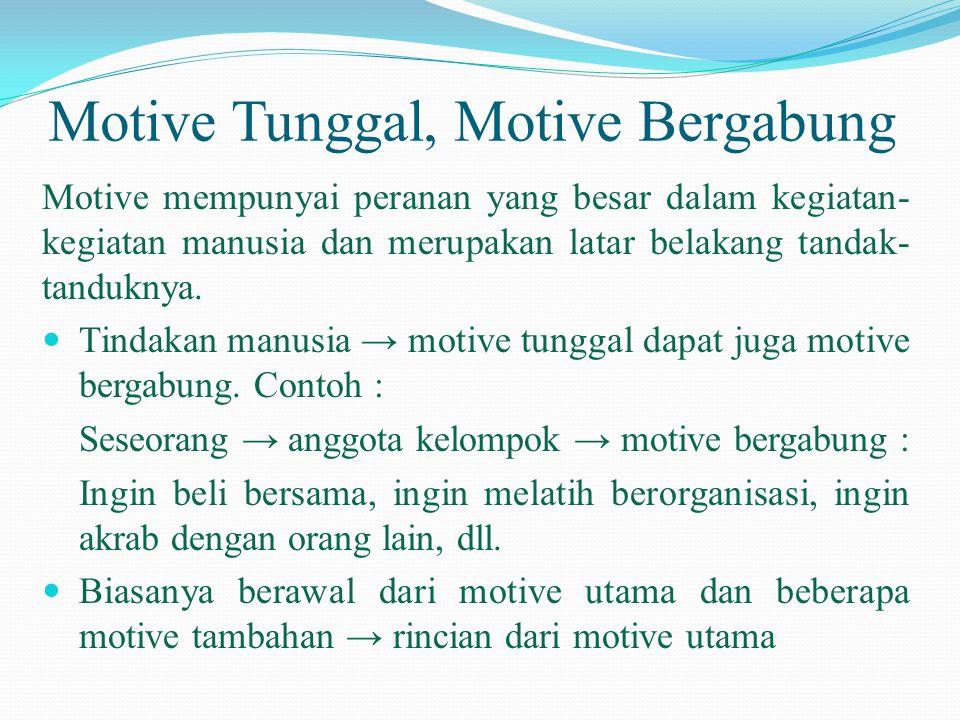 Motive Tunggal, Motive Bergabung Motive mempunyai peranan yang besar dalam kegiatan- kegiatan manusia dan merupakan latar belakang tandak- tanduknya.