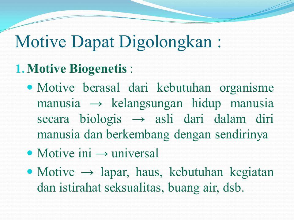 Motive Dapat Digolongkan : 1. Motive Biogenetis :  Motive berasal dari kebutuhan organisme manusia → kelangsungan hidup manusia secara biologis → asl
