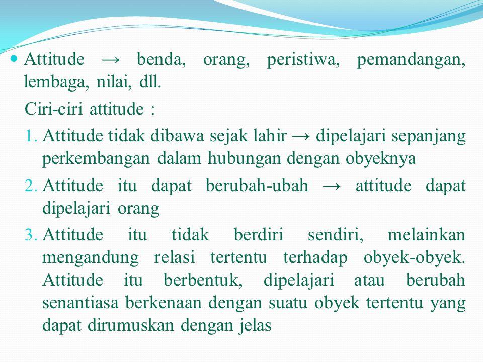  Attitude → benda, orang, peristiwa, pemandangan, lembaga, nilai, dll. Ciri-ciri attitude : 1. Attitude tidak dibawa sejak lahir → dipelajari sepanja