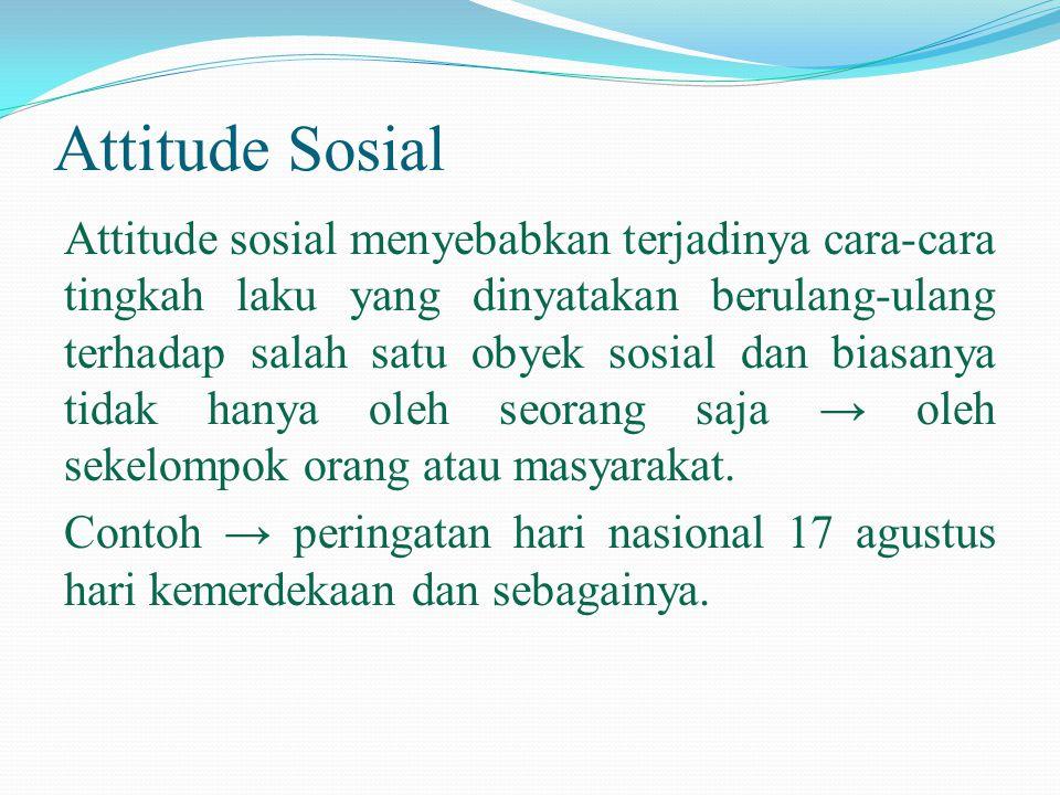 Attitude Sosial Attitude sosial menyebabkan terjadinya cara-cara tingkah laku yang dinyatakan berulang-ulang terhadap salah satu obyek sosial dan bias