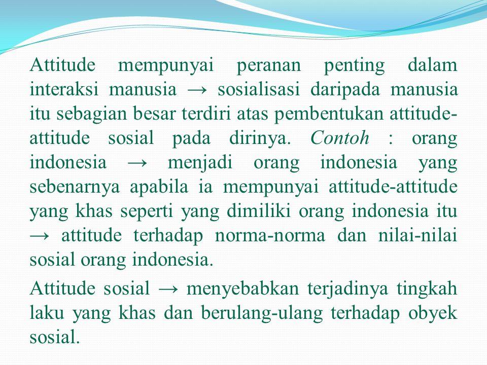 Attitude mempunyai peranan penting dalam interaksi manusia → sosialisasi daripada manusia itu sebagian besar terdiri atas pembentukan attitude- attitu