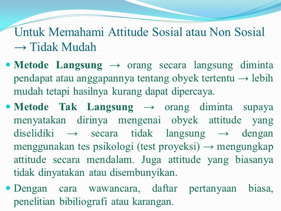 Untuk Memahami Attitude Sosial atau Non Sosial → Tidak Mudah  Metode Langsung → orang secara langsung diminta pendapat atau anggapannya tentang obyek