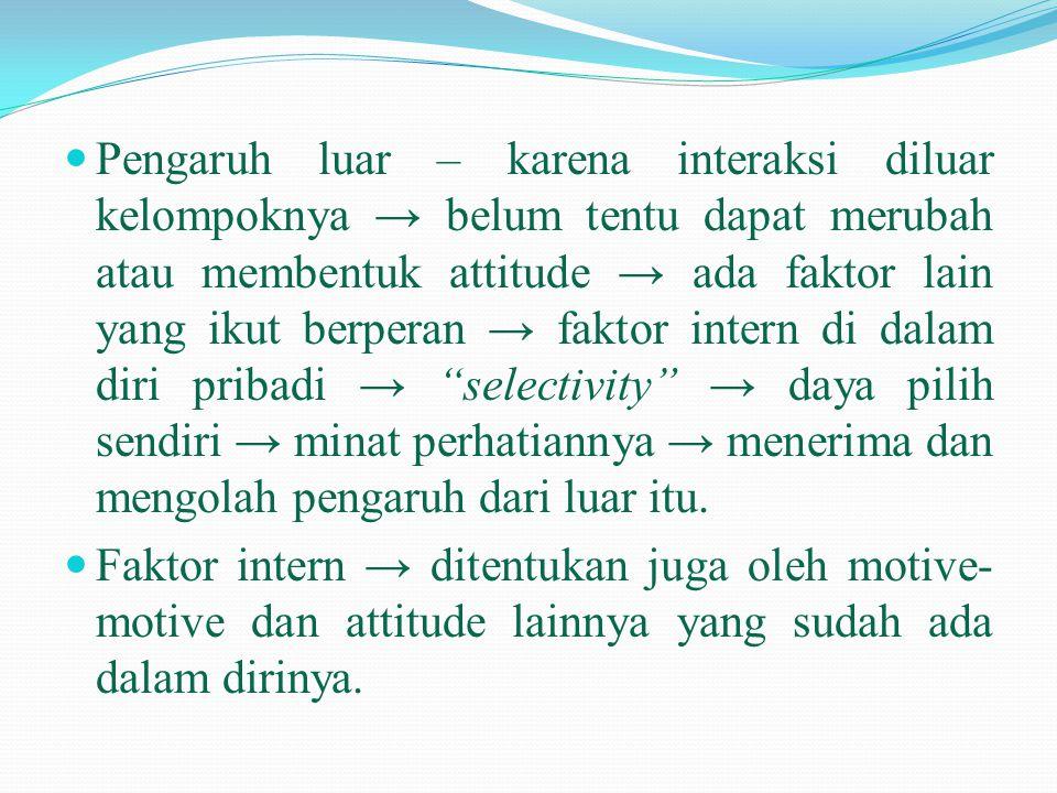  Pengaruh luar – karena interaksi diluar kelompoknya → belum tentu dapat merubah atau membentuk attitude → ada faktor lain yang ikut berperan → fakto
