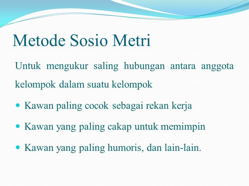 Metode Sosio Metri Untuk mengukur saling hubungan antara anggota kelompok dalam suatu kelompok  Kawan paling cocok sebagai rekan kerja  Kawan yang p