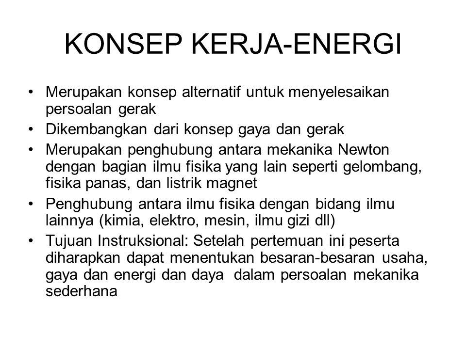 KONSEP KERJA-ENERGI •Merupakan konsep alternatif untuk menyelesaikan persoalan gerak •Dikembangkan dari konsep gaya dan gerak •Merupakan penghubung an