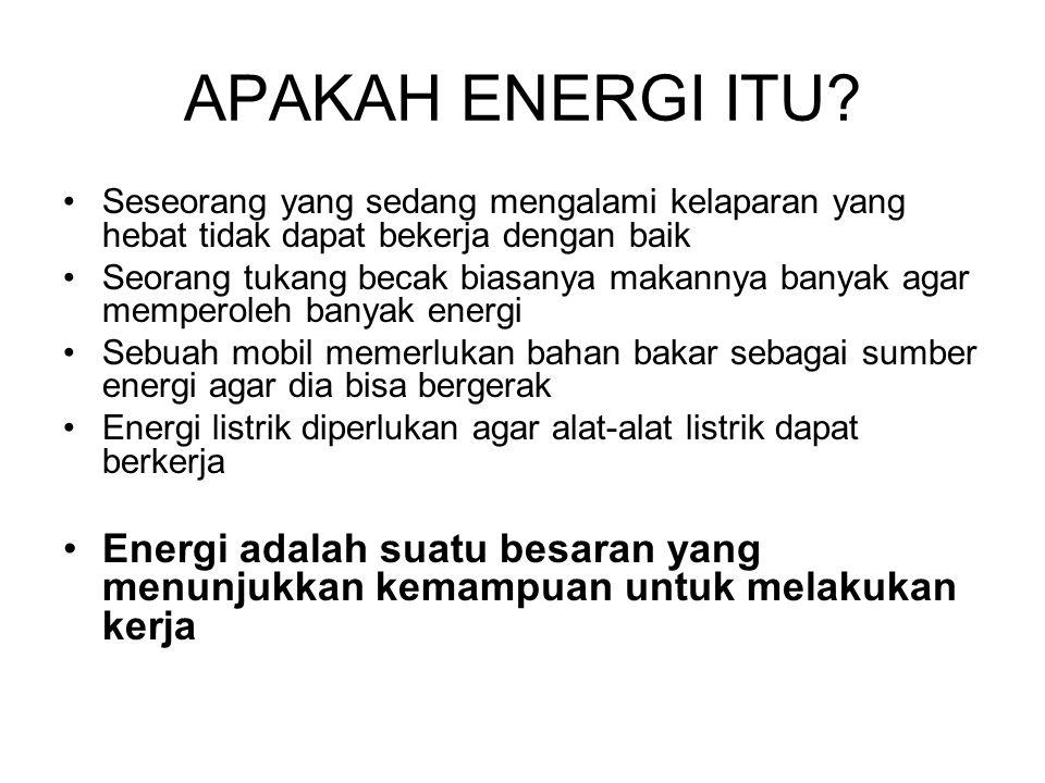 APAKAH ENERGI ITU? •Seseorang yang sedang mengalami kelaparan yang hebat tidak dapat bekerja dengan baik •Seorang tukang becak biasanya makannya banya
