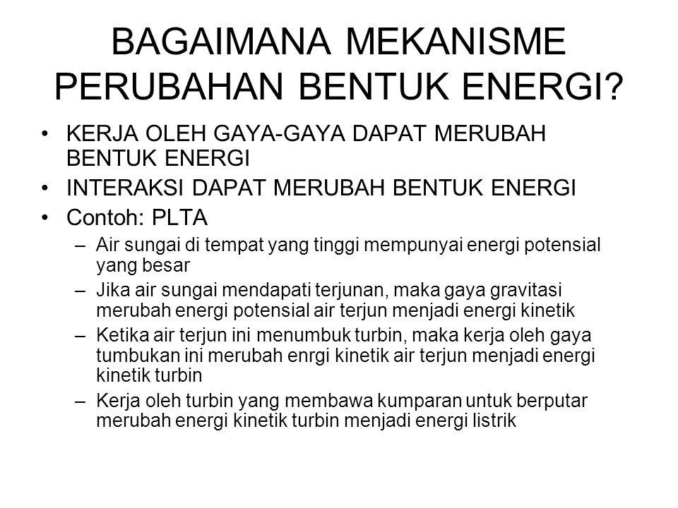 BAGAIMANA MEKANISME PERUBAHAN BENTUK ENERGI? •KERJA OLEH GAYA-GAYA DAPAT MERUBAH BENTUK ENERGI •INTERAKSI DAPAT MERUBAH BENTUK ENERGI •Contoh: PLTA –A