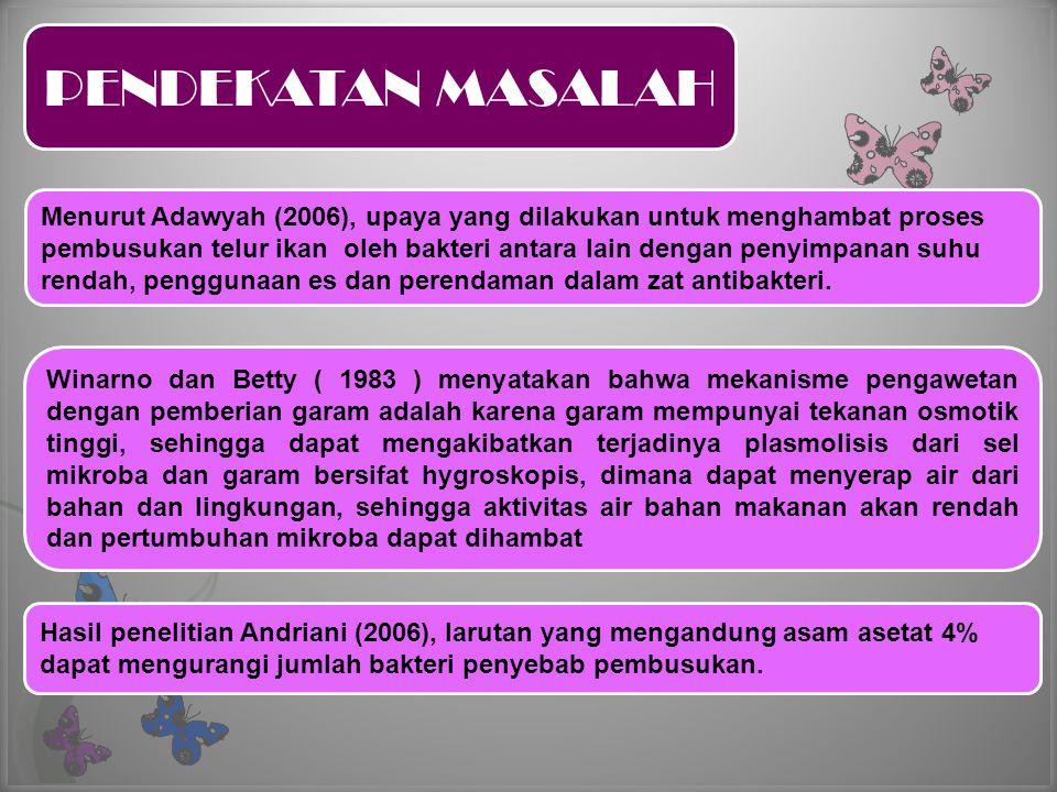 PENDEKATAN MASALAH Menurut Adawyah (2006), upaya yang dilakukan untuk menghambat proses pembusukan telur ikan oleh bakteri antara lain dengan penyimpa