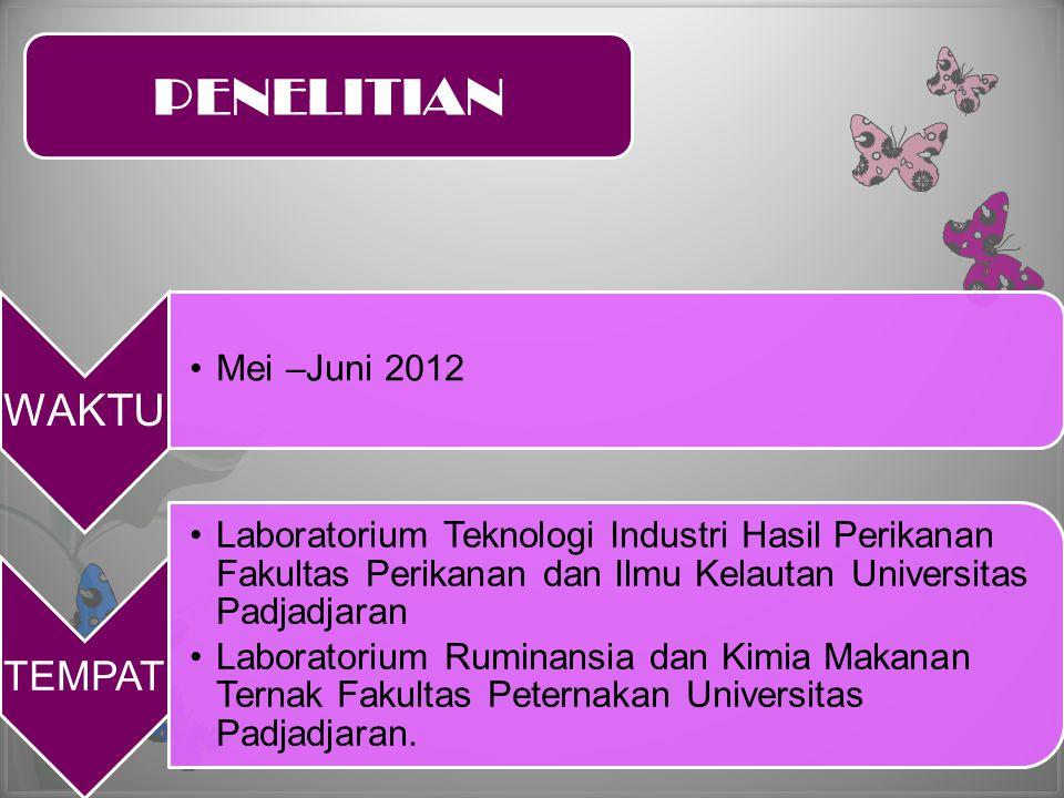 WAKTU •Mei –Juni 2012 TEMPAT •Laboratorium Teknologi Industri Hasil Perikanan Fakultas Perikanan dan Ilmu Kelautan Universitas Padjadjaran •Laboratori
