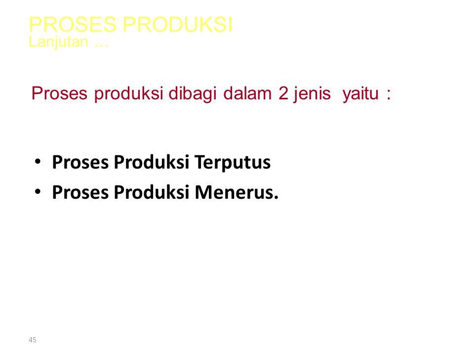 44 1.Money, 2.Man, 3.Machine, 4.Material, 5.Method  proses produksi 6.Management Proses produksi merupakan bagian dari 6 M yaitu : PROSES PRODUKSI