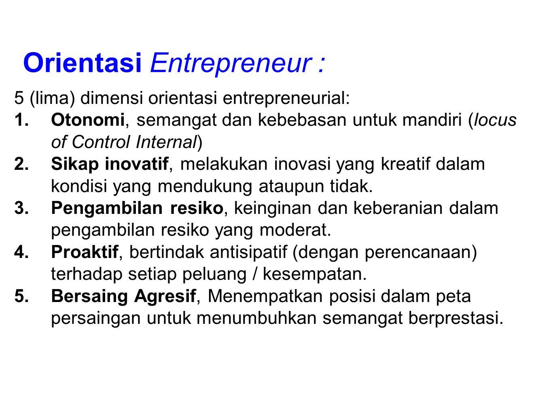 Orientasi Entrepreneur : 5 (lima) dimensi orientasi entrepreneurial: 1.Otonomi, semangat dan kebebasan untuk mandiri (locus of Control Internal) 2.Sik