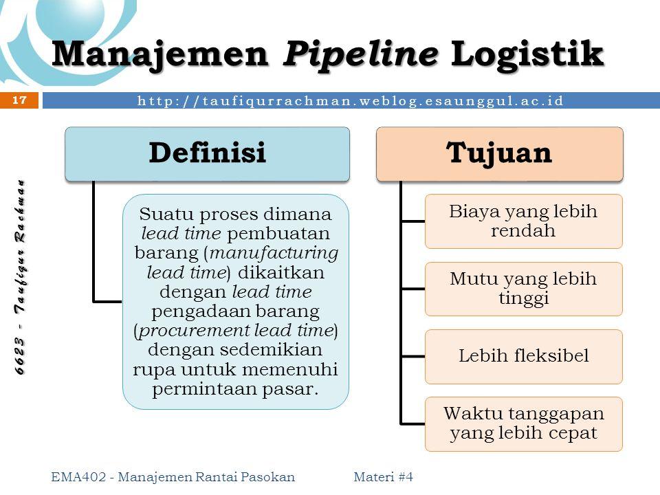 http://taufiqurrachman.weblog.esaunggul.ac.id 6 6 2 3 - T a u f i q u r R a c h m a n Manajemen Pipeline Logistik Materi #4 EMA402 - Manajemen Rantai
